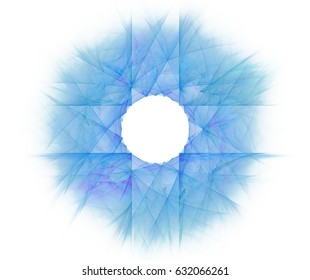 White abstract background with fractal star background. Blue cross shaped pattern with pastel rays effect.