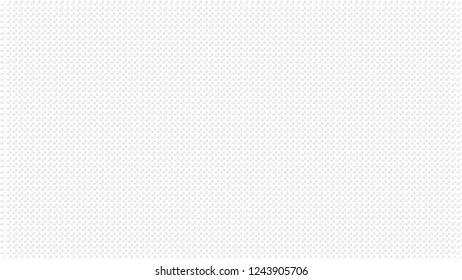 White abstract background with regular dotted texture. Pale grey waffers effect. Wide screen pattern, in frame, in vector.