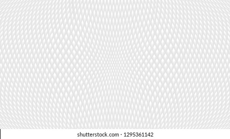 White abstract background with rhombus texture. Grey 3d effect waffer pit pattern, with diagonally crossed lines