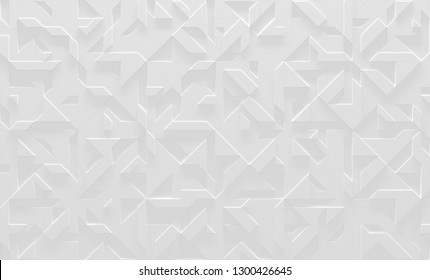 White Abstract Geometric Background (3D Illustration)