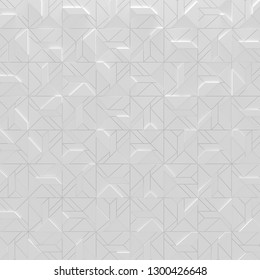 White Abstract Geometric Square Background (3D Illustration)