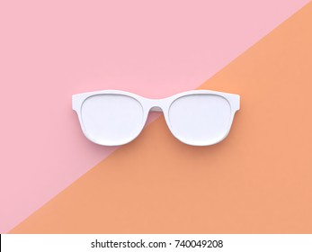 white abstract glasses minimal pastel pink orange tilted background 3d rendering