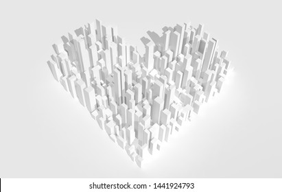 White abstract heart shaped city block aerial view. Digital model with geometric skyscrapers, 3d rendering illustration