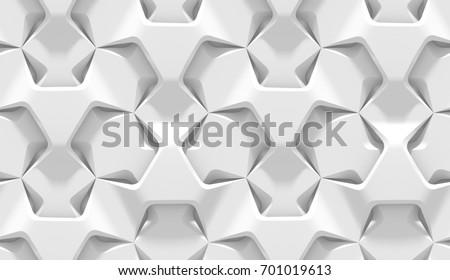 white abstract hexagonal geometric pattern origamiのイラスト素材