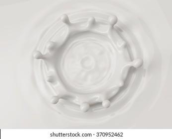 white abstract liquid background, milk splash crown, paint splashing, 3d food illustration