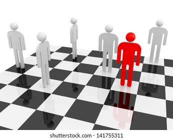 White abstract people with one red individual figure on a chessboard