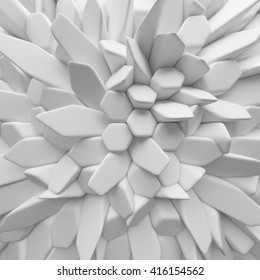 White abstract squares backdrop. 3d rendering geometric polygons, as tile wall. Interior room