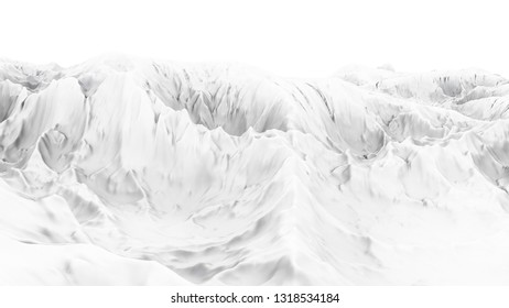 White abstract terrain background 3d illustration