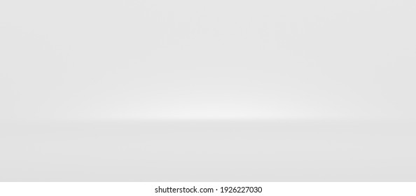 White abstract wide background and light backdrop room with empty blank gradient wallpaper blur design. 3D rendering.