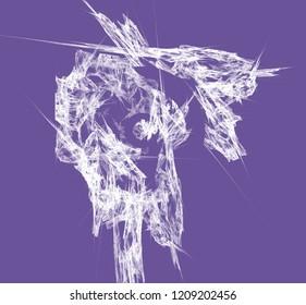 White abstrct fractal on ultraviolet background. Fantasy fractal texture. Digital art. 3D rendering. Computer generated image