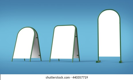 white advertising banner pillar stand mockup template isolated 3d rendering