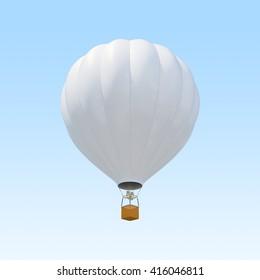 White air ballon on sky background. 3d illustration