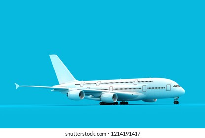 White airplane ready to take-off isolated on blue background. Right side view. 3D illustration.