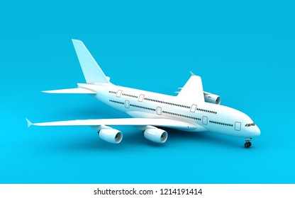 White airplane stands still isolated on blue background. High angle view. 3D illustration.