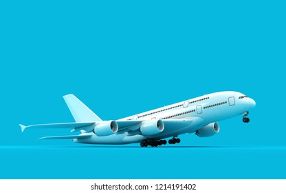 White airplane takes off or landing. Isolated on blue background. Right side view. Bottom view. Perspective. 3D illustration.