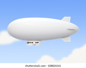 white airship hovering in sky