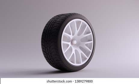 White Alloy Rim Wheel with a Complex 14 Spoke Offset Open Wheel Design with Racing Tyre 3d illustration 3d render