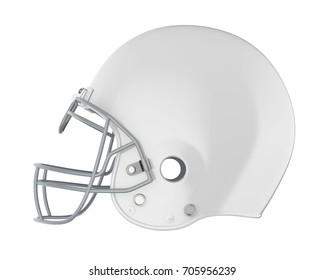 White American Football Helmet Isolated. 3D rendering