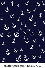 White anchor in blue background