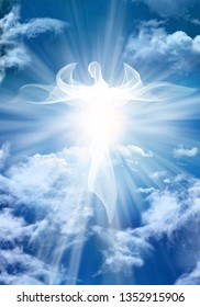 White angel. Abstract modern illustration. Sky clouds with bright light rays