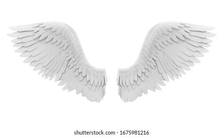 White Angel Wings Isolated. 3D rendering