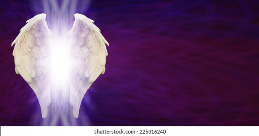 White Angel Wings with a shaft of light between on Purple Matrix background