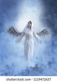 A white angel with its wings spread, 3D rendering. She is surrounded by smoke or clouds like it's a dream or in heaven.