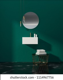 White angular sink attached to an emerald wall of a bathroom with a round mirror and a table with towels. 3d rendering