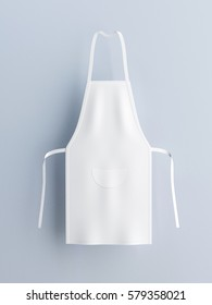 White apron, apron mockup 3d rendering