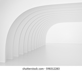White arch shaped tunnel. 3d render image