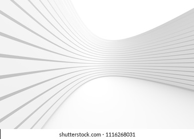 White Architecture Circular Background. Modern Building Design. Abstract Curved Shapes. 3d Rendering