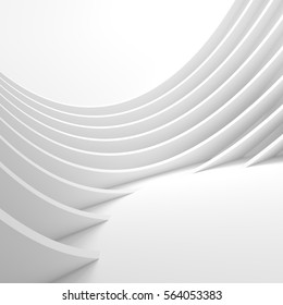 White Architecture Circular Background. Modern Building Design. Abstract Curved Shapes. 3d Rendering of Minimalistic Wallpaper