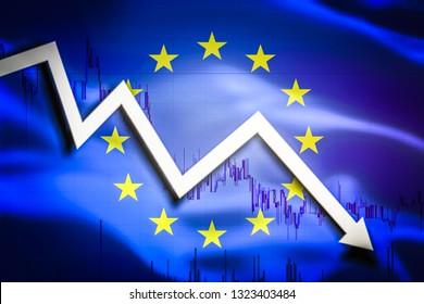 White arrow fall down on the background of the waving flag of EU (European Union)