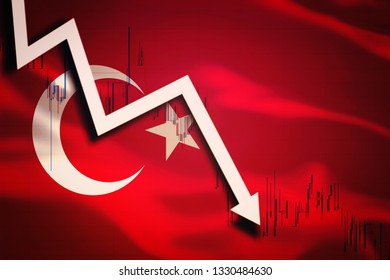 White arrow fall down on the background of the waving flag of Turkey