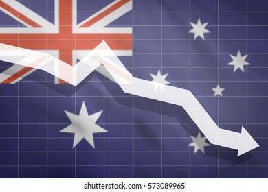 White arrow fall down on the background of the flag Australia