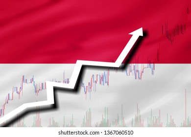 White arrow and stocks chart growth up on the background of the flag of Indonesia