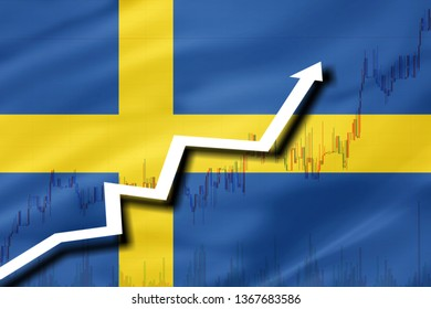 White arrow and stocks chart growth up on the background of the flag of Sweden