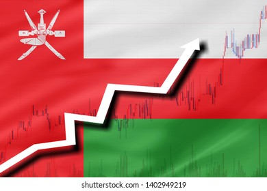 White arrow and stocks chart growth up on the background of the flag of Oman