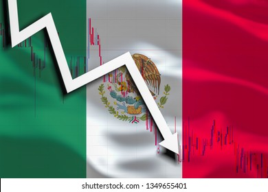 White arrow and stocks fall down on the background of the waving flag of Mexico