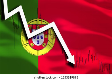 White arrow and stocks fall down on the background of the waving flag of Portugal