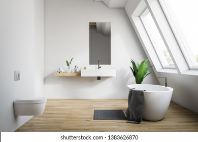 White attic bathroom interior with wooden floor, bathtub with rug near it, sink with narrow mirror and toilet. 3d rendering