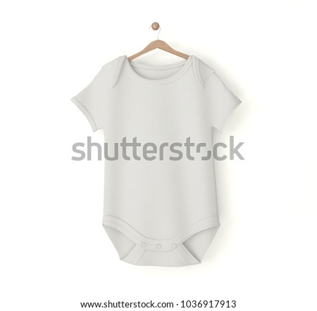 ff1a884adafc White Baby Onesie Isolated Mockup 3 D Stock Illustration - Royalty ...