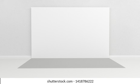 White backdrop 3x5 meters in room with grey paint on wall. 3d render mockup. Template for your design
