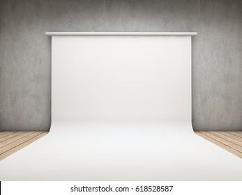 White backdrop on a room 3D illustration
