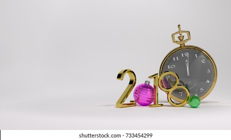 White background 3D illustration of golden numbers and gold watch christmas ball