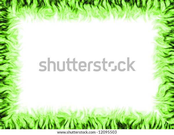 White background with colorful frame made of flames