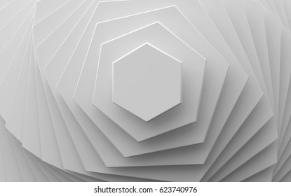 white background of different scale hexagons 3d