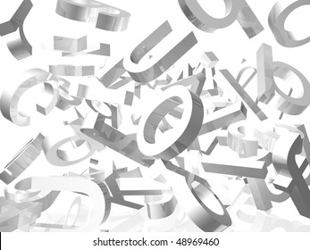 White background with falling 3d letters