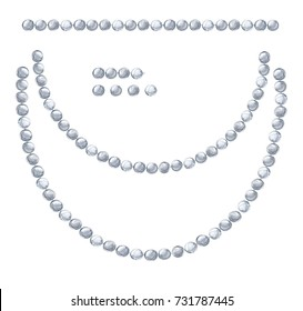 White background with hanging beautiful shiny painted watercolor garlands of silver beads. Christmas decorations. Set for festive design.