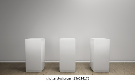 white background with pedestal